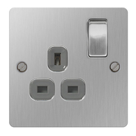 BG Nexus Flatplate Screwed Single Switched Socket Brushed Steel SBS21G