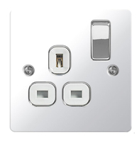 BG Nexus Flatplate Screwed Single Switched Socket Polished Chrome SPC21W
