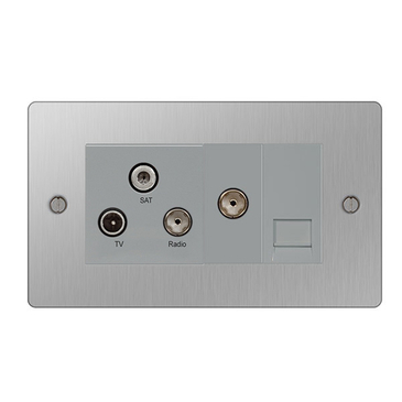 BG Nexus Flatplate Screwed Triplex-Return & 1G TV Socket Brushed Steel SBS68