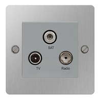 BG Nexus Flatplate Screwed Triplex Socket Brushed Steel SBS67