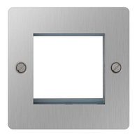 BG Nexus Flatplate Screwed Twin Euro Module Front Plate Brushed Steel SBSEMS2