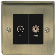 BG Nexus Metal Antique Brass Diplex TV Socket NAB66B