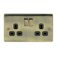 BG Nexus Metal Antique Brass Double Socket Switched NAB22B