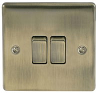 BG Nexus Metal Antique Brass Light Switch 2G 2W NAB42