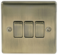 BG Nexus Metal Antique Brass Light Switch 3G NAB43