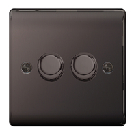 BG Nexus Metal Black Nickel Dimmer Switch 2G Halogen/LED NBN82P