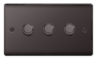BG Nexus Metal Black Nickel Dimmer Switch 3G Halogen/LED NBN83P