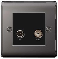 BG Nexus Metal Black Nickel Diplex TV Socket NBN66