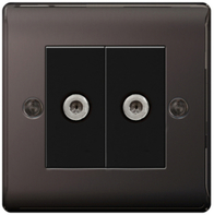 BG Nexus Metal Black Nickel Double Satellite Socket NBN642