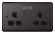 BG Nexus Metal Black Nickel Double Socket Switched NBN22B