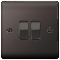 BG Nexus Metal Black Nickel Light Switch 2G 2W NBN42