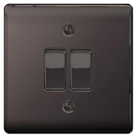 BG Nexus Metal Black Nickel Light Switch 2W & INT NBN12-13