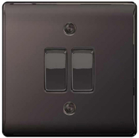 BG Nexus Metal Black Nickel Light Switch 2W & INT NBN2WINT
