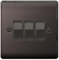 BG Nexus Metal Black Nickel Light Switch 3G 2W NBN43