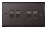 BG Nexus Metal Black Nickel Light Switch 4G 2W NBN44