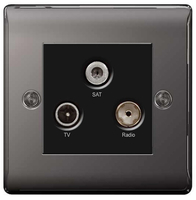 BG Nexus Metal Black Nickel Triplex TV Socket NBN67