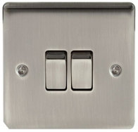 BG Nexus Metal Brushed Iridium Light Switch 2G 2W NBI42