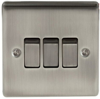 BG Nexus Metal Brushed Iridium Light Switch 3G NBI43