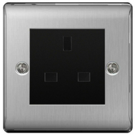 BG Nexus Metal Brushed Steel 13a Unswitched Socket NBSUSSB