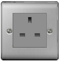BG Nexus Metal Brushed Steel 13a Unswitched Socket NBSUSSG
