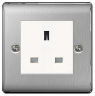 BG Nexus Metal Brushed Steel 13a Unswitched Socket NBSUSSW