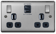 BG Nexus Metal Brushed Steel 2 Gang Socket 4.2A 2x Outlet USB Charger NBS22UACB