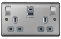 BG Nexus Metal Brushed Steel 2 Gang SP 13A Switch Socket and 4.2A 2 Outlet USB Charger with Grey Inserts NBS22UACG