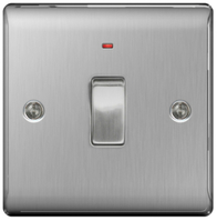BG Nexus Metal Brushed Steel 20A DP Switch With Neon NBS31