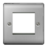 BG Nexus Metal Brushed Steel 2G Euro Module Plate NBSEMS2