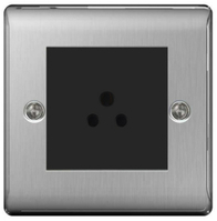 BG Nexus Metal Brushed Steel 5a Unswitched Socket Round Pin NBS29MB
