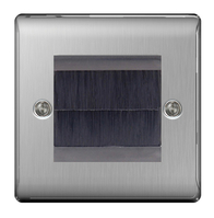 BG Nexus Metal Brushed Steel Brush Outlet Plate NBSEMS2BR