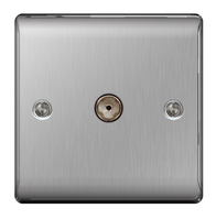 BG Nexus Metal Brushed Steel Coax TV Socket NBS60