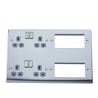 BG Nexus Metal Brushed Steel Media Plate Grey Inserts NBS222EM8G