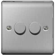 BG Nexus Metal Brushed Steel Dimmer Switch 2G Halogen/LED NBS82P