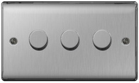 BG Nexus Metal Brushed Steel Dimmer Switch 3G Halogen/LED NBS83P