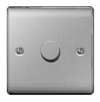 BG Nexus Metal Brushed Steel Dimmer Switch Halogen/LED NBS81P