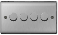 BG Nexus Metal Brushed Steel Dimmer Switch 4G Halogen/LED NBS84P