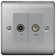BG Nexus Metal Brushed Steel Diplex TV Socket NBS66