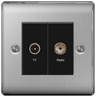 BG Nexus Metal Brushed Steel Diplex TV Socket NBS66B