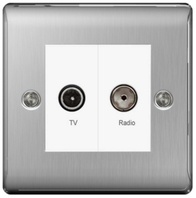 BG Nexus Metal Brushed Steel Diplex TV Socket NBS66W