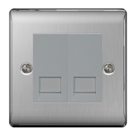 BG Nexus Metal Brushed Steel Double Slave BT Socket  NBSBTS2