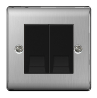 BG Nexus Metal Brushed Steel Double Slave BT Socket  NBSBTS2B