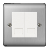 BG Nexus Metal Brushed Steel Double Master BT Socket  NBSBTM2W