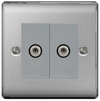 BG Nexus Metal Brushed Steel Double Satellite Socket NBS642