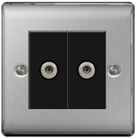 BG Nexus Metal Brushed Steel Double Satellite Socket NBS642B