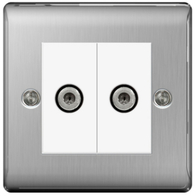 BG Nexus Metal Brushed Steel Double Satellite Socket NBS642W