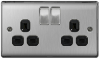 BG Nexus Metal Brushed Steel Double Socket Black Inserts NBS22B