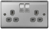 BG Nexus Metal Brushed Steel Double Socket Grey Inserts NBS22G