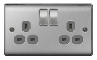 BG Nexus Metal Brushed Steel Double Socket Switched Grey Inserts NBS22G