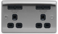 BG Nexus Metal Brushed Steel Double Unswitched Socket USB Black Inserts NBS24U44B
